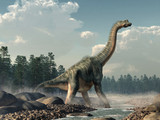 Brachiosaurus was a sauropod dinosaur, one of the largest and most popular. It lived in during the Late Jurassic Period. Standing in a rocky stream. 3D Rendering