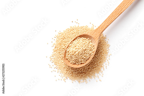 Amaranth in wooden spoon isolated on white background Wallpaper Mural