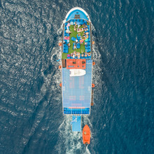 Aerial View Of Passenger Ferry Boat In The Mediterranean Sea, Rhodes Island, Greece.