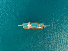 Aerial View Of Traditionals Sailboat In The Mediterranean Sea, Vathy, Greece.