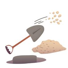 Shovel Digging A Pit Throwing Stones Illustration