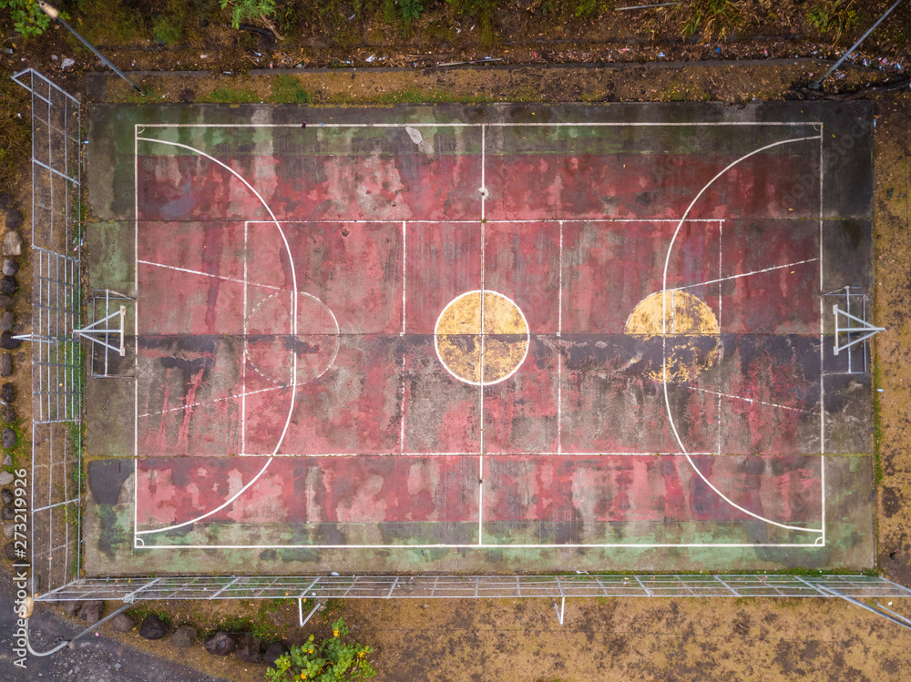 Aerial view of an abandoned basketball ground in Papeete, Tahiti, French Polynesia.