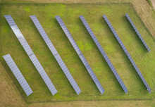 Aerial View Of Small Solar Panel Rows During The Autumn, Estonia.