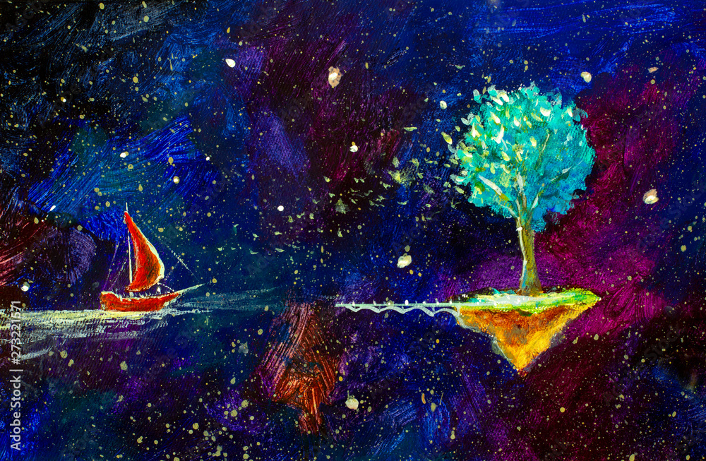 Fototapeta Red ship sails beautiful tree in space across starry sky - fantastic art illustration artwork. Fairy acrylic painting on canvas