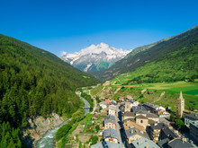 Aerial View Of Lanslebourg Village In Savoie, France.