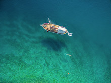 Aerial View Of Yacht In Adriatic Sea Off The Coast Of Croatia.