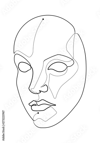 Pretty Woman Feminine Face Single Continuous Line Vector Illustration