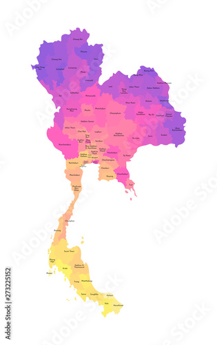 Canvas Print Vector isolated illustration of simplified administrative map of Thailand