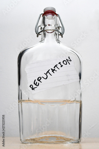 Photo Bottle with a REPUTATION note bonded