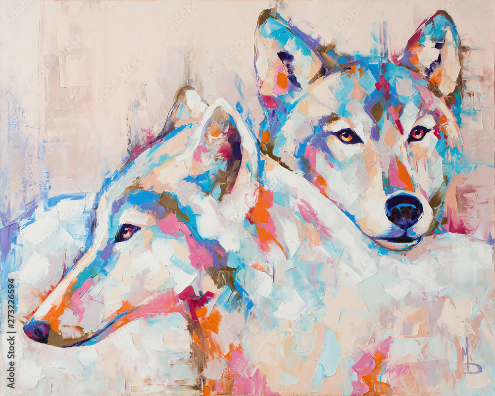 Fototapeta Oil wolf portrait painting in multicolored tones. Conceptual abstract painting of a couple wolves. Closeup of a painting by oil and palette knife on canvas.
