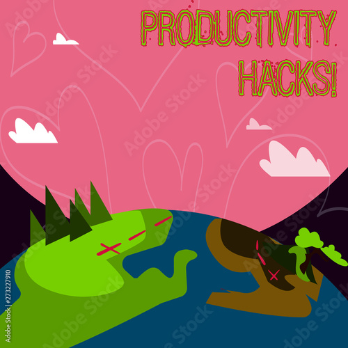 Canvas Prints Dinosaurs Conceptual hand writing showing Productivity Hacks. Concept meaning Hacking Solution Method Tips Efficiency Productivity