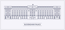 London Buckingham Palace Outline Flat Vector Illustration.
