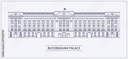 Fotografia London Buckingham palace outline flat vector illustration.