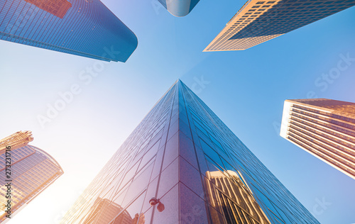 Obraz Downtown Los Angeles skyscrapers skyline at sunny day - fototapety do salonu