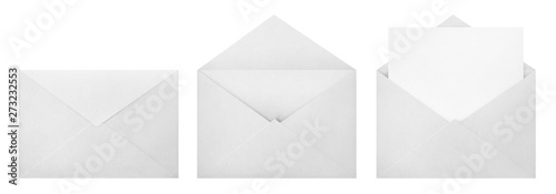 Fotografía  Set of white envelopes (sealed, empty and with a blank paper inside), isolated o