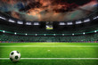 night soccer field with lights and spectors panorama 3d rendering