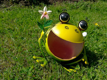 Funny Metal Frog Decoration On...