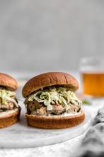 Turkey Burger, On Whole Wheat Bun With Apple Cabbage Slaw