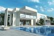 Leinwanddruck Bild - Impressive white modern house with pool