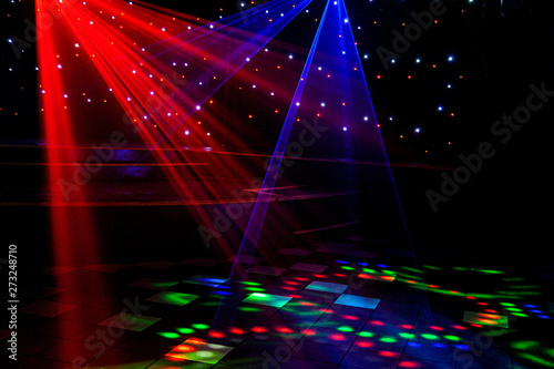 Bright Nightclub Red Green Purple White Pink Blue Laser Lights Cutting Through Smoke Machine Smoke Making Light And Rainbow Patterns On The Dance Floor With Bokeh In The Background Mardi Gras