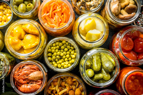 Fotomural  Variety of homemade pickled food.