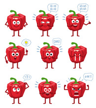 Set Of Cartoon Red Pepper Characters Showing Different Actions, Emotions, Gestures. Cheerful Pepper Laughing, Crying, Pointing, Thinking, Angry And Doing Other Actions. Simple Vector Illustration