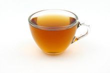 Glass Cup Of Hot Tea Isolate On White Background
