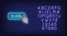 Click Neon Sign. Luminous Signboard With Arrow Cursor. Night Bright Advertisement. Vector Illustration In Neon Style For Online Commercial, Online Store
