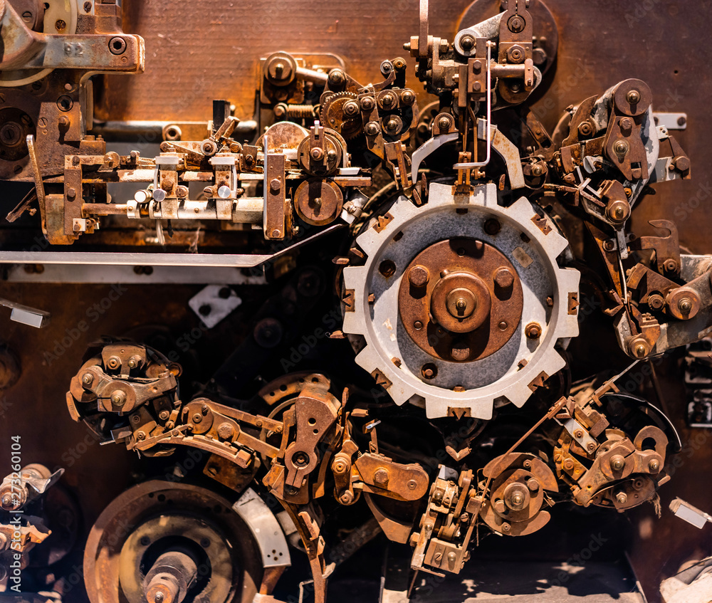 Fototapety, obrazy: Old iron corrosion gears and vintage wall