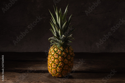 Fototapety, obrazy: pineapple exotic tropical fruit on wood background