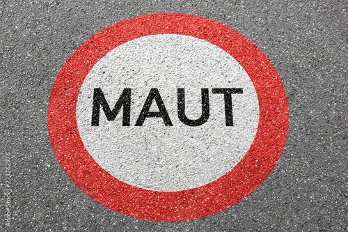 obraz dibond Maut Straße City Mautstraße bezahlen saubere Luft Maut-Straße Autobahn Schild Zone