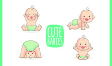 Cute Babies Or Toddlers Milestones. Baby Crying, Crawling, Sitting, Exercising. Vector Illustration