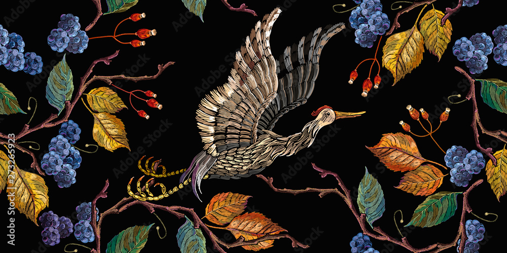 Fototapeta Japanese crane bird and blackberry autumn leaves seamelss pattern. Embroidery fashion art, template for design of clothes