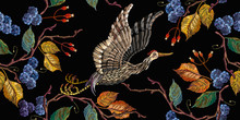 Japanese Crane Bird And Blackb...