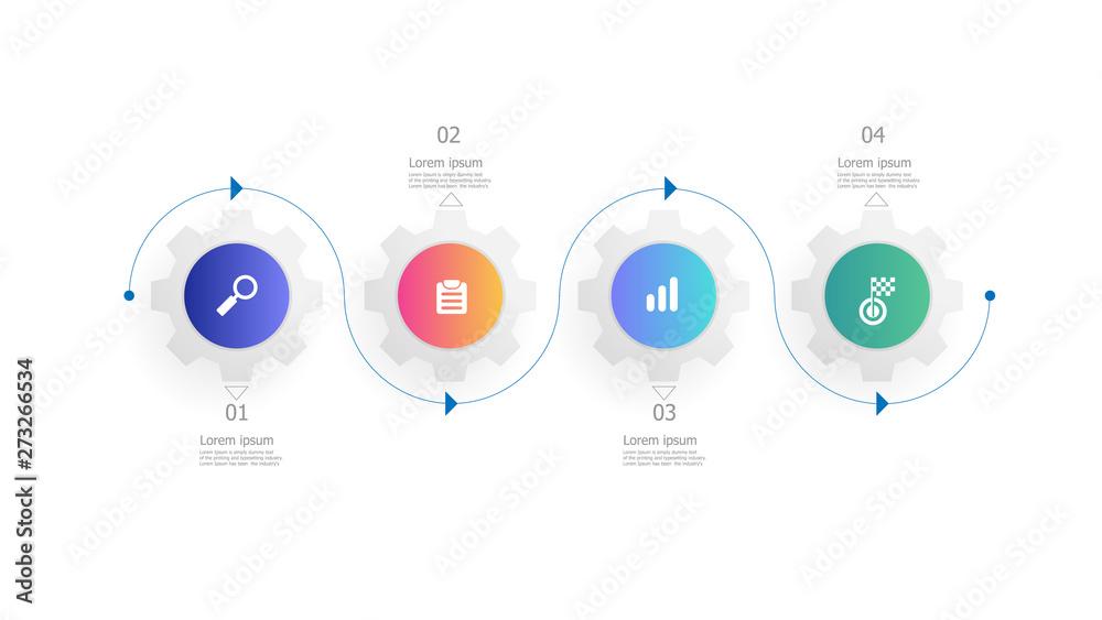 Fototapeta cog gears wheels infographics 4 steps