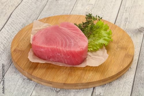 Raw tuna steak Canvas Print