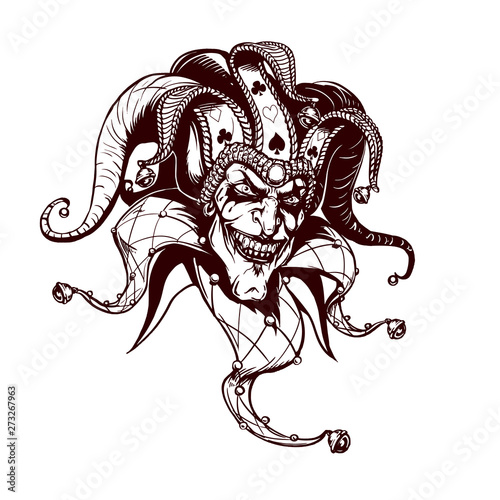 Fotomural Joker. Angry jester in the cap. tattoo
