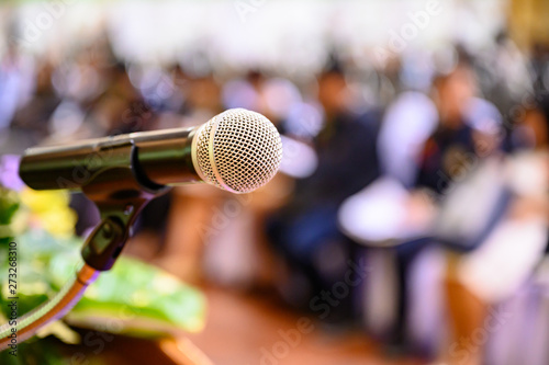Valokuva  Microphone over the blurred business forum Meeting or Conference Training Learning Coaching Room Concept, Blurred background
