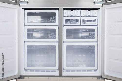 Refrigerator Isolated on White Background. Modern Kitchen and Domestic Major Appliances