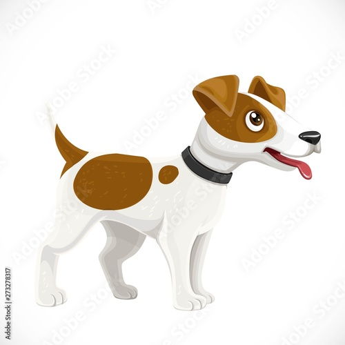 Obraz Cute cartoon Jack Russell Terrier dog isolated on white background - fototapety do salonu