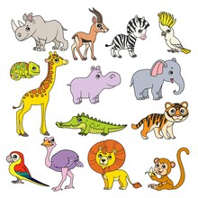 Cute Cartoon Various African Animals Set Color Doodle With Black Outline On A White Background For Coloring Page