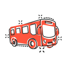 School Bus Icon In Comic Style. Autobus Vector Cartoon Illustration On White Isolated Background. Coach Transport Business Concept Splash Effect.