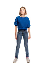 Cute Teen Girl In Blue Sweater...