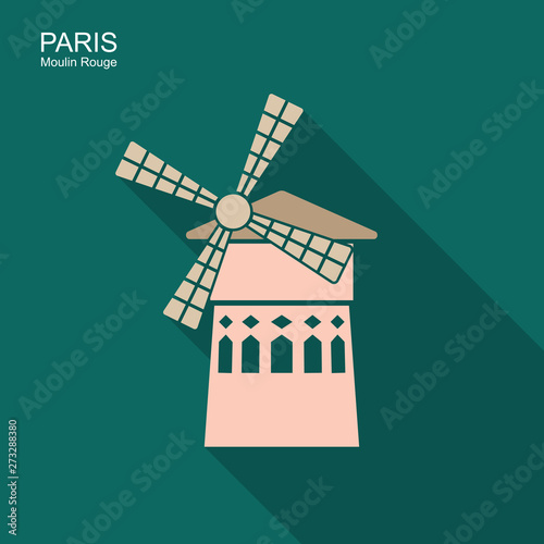 Famous landmark Moulin Rouge Paris France. Vector icon Wallpaper Mural