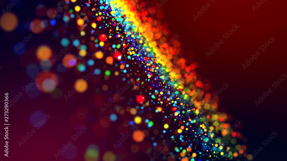 Fototapety, obrazy: cloud of multicolored particles in the air like sparkles on a dark background with depth of field. beautiful bokeh light effects with colored particles. background for holiday presentations. 43