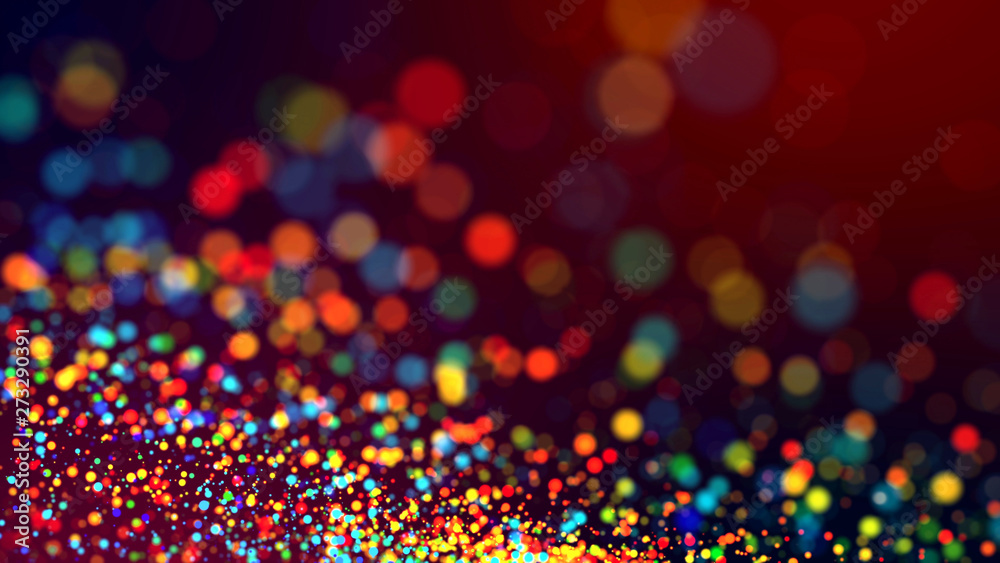 Fototapety, obrazy: cloud of multicolored particles in the air like sparkles on a dark background with depth of field. beautiful bokeh light effects with colored particles. background for holiday presentations. 46