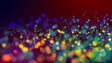 Cloud Of Multicolored Particles In The Air Like Sparkles On A Dark Background With Depth Of Field. Beautiful Bokeh Light Effects With Colored Particles. Background For Holiday Presentations. 37