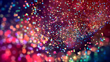 Cloud Of Multicolored Particles In The Air Like Sparkles On A Dark Background With Depth Of Field. Beautiful Bokeh Light Effects With Colored Particles. Background For Holiday Presentations. 102