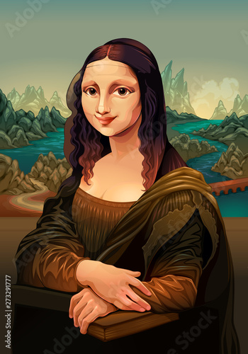 Poster Chambre d enfant Interpretation of Mona Lisa, painting by Leonardo da Vinci