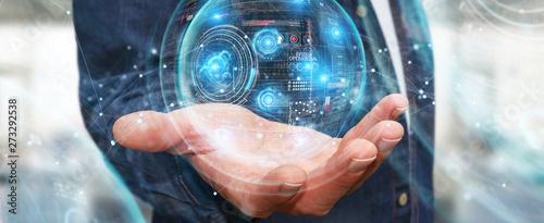 Fleur Businessman using digital technological interface with datas 3D rendering